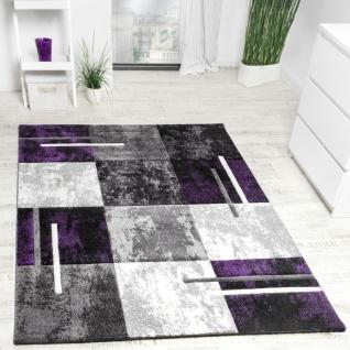 Designer Teppich Modern Konturenschnitt Meliert Karo Muster Lila Grau Schwarz