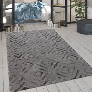 Wohnzimmer-Teppich, Kurzflor-Teppich Mit Rauten-Muster Und Glanz-Effekt In Grau