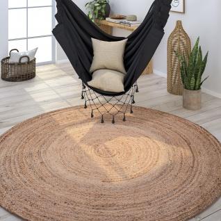 Teppich Rund Wohnzimmer Jute Boho Ethno Handgefertigter Natur-Teppich Braun Beige