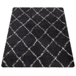 Hochflor Teppich Wohnzimmer Shaggy Skandi Rauten Muster Weich Flauschig Grau - Vorschau 5