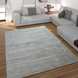 Teppich Handgefertigt Hochwertig 100% Viskose Cord Optik Vintage Glanz Uni Grau