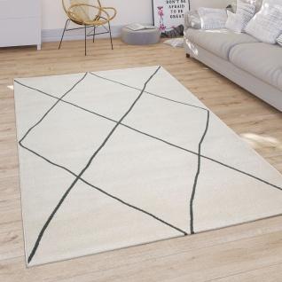 Teppich Wohnzimmer Mit Modernem Skandi Rauten Muster Kurzflor, Hell In Weiß