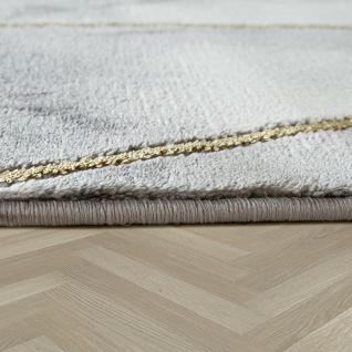Wohnzimmer Teppich Grau Gold 3-D Bordüre Marmor Muster Strapazierfähig Kurzflor - Vorschau 2