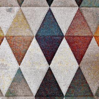 Designer Teppich Bunte Raute Muster Konturenschnitt In Beige Braun Creme Meliert - Vorschau 3