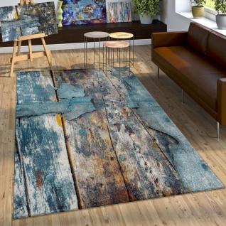 Designer Teppich Bunte Holz Optik Hoch Tief Optik In Türkis Gelb Blau Meliert