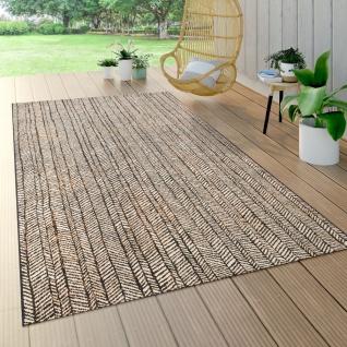 Outdoor Teppich Für Terrasse Und Balkon, Geometrisches Muster, Modern In Braun