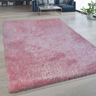 Hochflor Wohnzimmer Teppich Waschbar Shaggy Flokati Optik Einfarbig In Pink