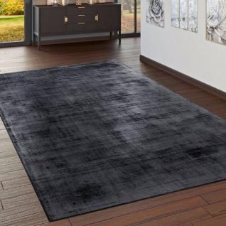 Teppich Handgefertigt Hochwertig 100 % Viskose Vintage Optisch Meliert Anthrazit - Vorschau 1