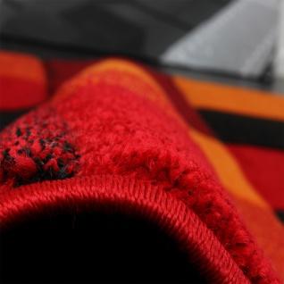 Designer Teppich Kariert Modern Handgearbeiteter Konturenschnitt Rot Schwarz - Vorschau 3