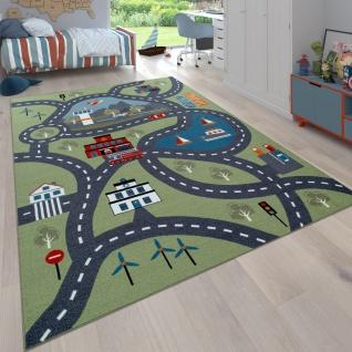 Kinder-Teppich Für Kinderzimmer, Spiel-Teppich Mit Straßen-Motiv, In Grün