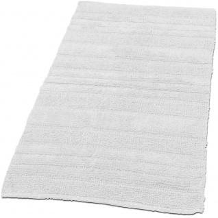 Badematte Badteppich Badezimmerteppich aus Baumwolle Einfarbig in Weiß