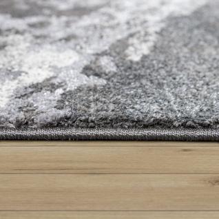 Teppich Wohnzimmer Kurzflor 3D Effekt Abstraktes Stein Muster Grau Anthrazit - Vorschau 2