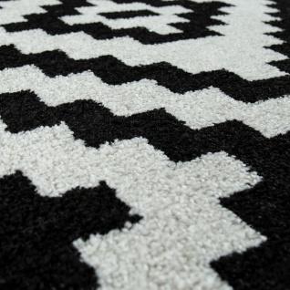 Kurzflor Teppich Schwarz Weiß Wohnzimmer Ethno-Look Design Rauten Muster - Vorschau 3