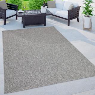 Outdoor Teppich Balkon Terrasse Küchenteppich Einfarbiges Muster Meliert Grau