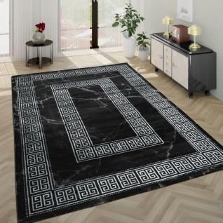Wohnzimmer-Teppich, Kurzflor Mit Marmor-Design Und Grauer Bordüre In Schwarz