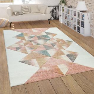Teppich Wohnzimmer Modern Weiß Rosa Bunt Pastell Kurzflor 3-D Rauten ...