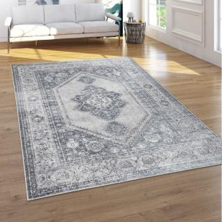 Teppich Wohnzimmer Vintage Kurzflor Orientalisches Muster 3D Effekt Grau Beige