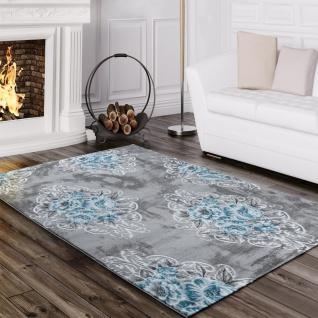 Designer Teppich Edel Mit Vintage Blumen Muster Meliert In Grau Creme Türkis
