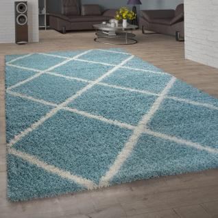 Teppich Wohnzimmer Hochflor Shaggy Skandi Design Mit Rauten Muster, Modern In Türkis - Vorschau 1