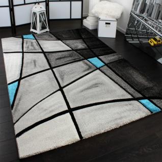 Designer Teppich Karo Modern Konturenschnitt Grau Türkis AUSVERKAUF