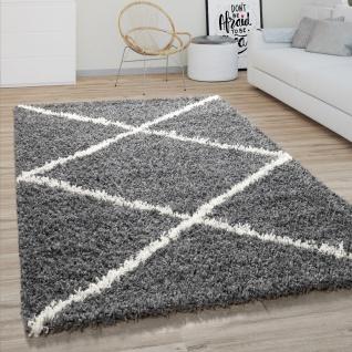 Hochflor Teppich Wohnzimmer Shaggy Skandinavisches Rauten Muster, Modern Dunkel Grau