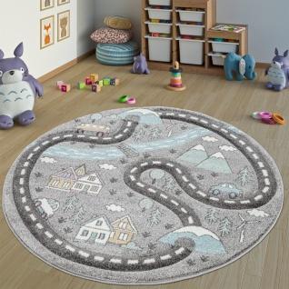 Kinderteppich Kinderzimmer Teppich Rund Kurzflor Straßen Design In Pastell Grau