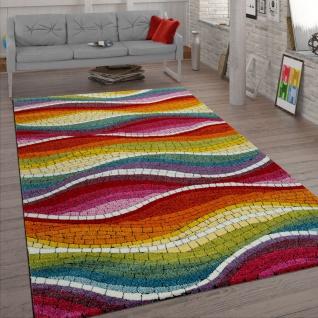 Retro Teppich Bunt Rot Grün Blau Wohnzimmer Mosaik Muster 3-D Design Kurzflor
