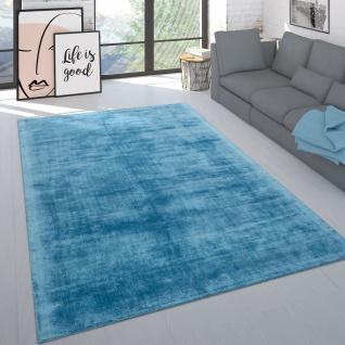 Teppich Handgefertigt Hochwertig Einfarbig Kurzflor Modern Materialmix In Türkis