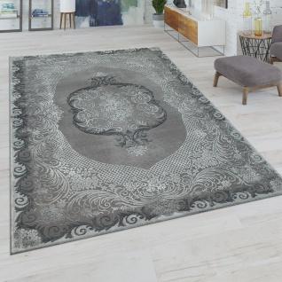 Kurzflor Wohnzimmer Teppich Orientalisches Design In Grau