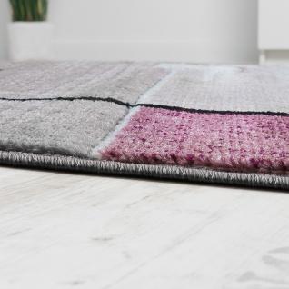 Designer Teppich Konturenschnitt Abstrakt Karo Linien Grau Lila Meliert - Vorschau 2