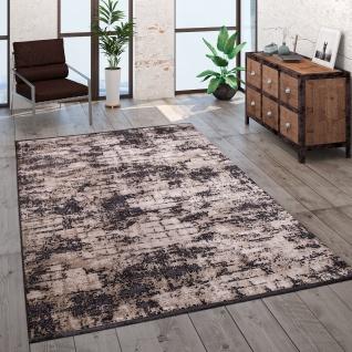 Teppich Wohnzimmer Kurzflor Modern Vintage Abstraktes Muster Glanz Optik Beige