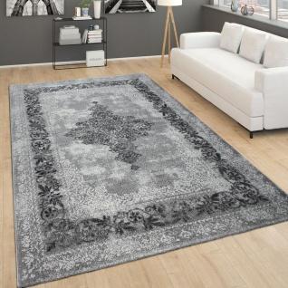 Teppich Für Wohnzimmer, Vintage-Kurzflor Mit Orient-Muster, Meliert Grau