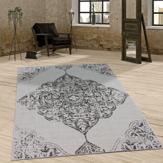 In- & Outdoor Teppich Vintage Design Ornamente Paisley Muster Elegant In Grau