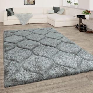 Teppich Wohnzimmer Grau Anthrazit Hochflor Weich Shaggy Flauschig Wellen Muster