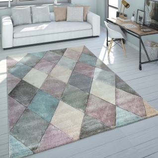 Teppich Wohnzimmer Bunt Pastellfarben Rauten Muster 3-D Design Kurzflor Robust