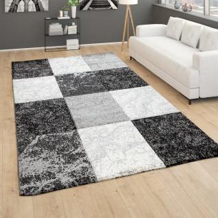 Teppich Wohnzimmer Kurzflor Geometrisches Muster Kariert 3D Design Grau Weiß