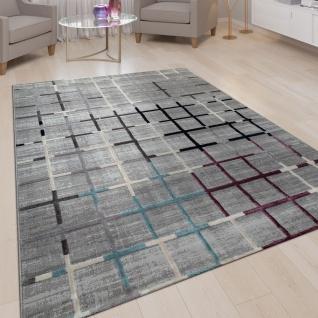 Wohnzimmer-Teppich, Kurzflor Mit Karo Muster, Bunte Akzente, 3D-Design In Grau
