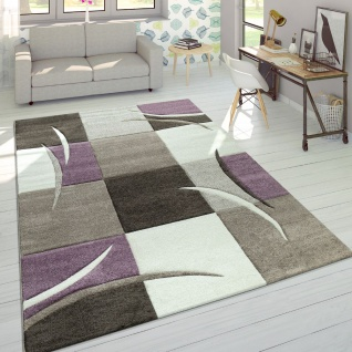 Designer Teppich Modern Konturenschnitt Pastellfarben Mit Karo Muster Beige Lila