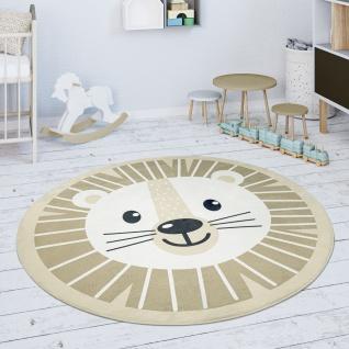 Kinderteppich Teppich Rund Kinderzimmer Spielmatte Löwen Motiv Beige Weiß