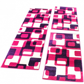Bettumrandung Läufer Teppich Retro Design in Pink Lila Läuferset 3 Tlg.