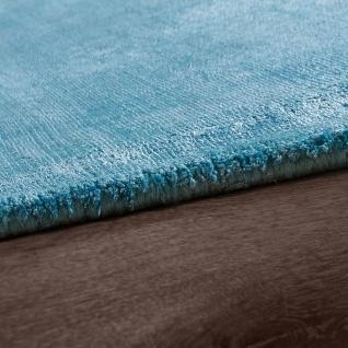 Teppich Handgefertigt Hochwertig 100% Viskose Vintage Aufällig Meliert In Türkis - Vorschau 2