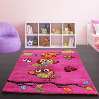 Kinder Teppich Niedliche Eulen Pink Fuchsia Gruen Blau