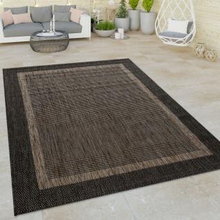In- & Outdoor Flachgewebe Teppich Modern Bordüre Natürlicher Look In Braun