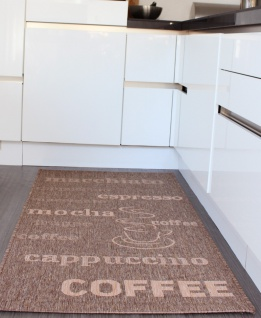 Teppich Sisal Optik Mais Braun mit Schriftzug espresso, cappuccino, coffee Neu*OVP