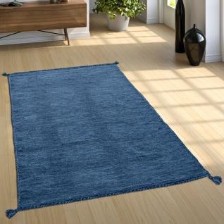 Designer Teppich Webteppich Kelim Handgewebt 100% Baumwolle Modern Meliert Blau