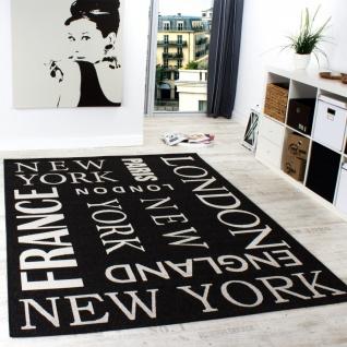 Teppich Modern City Sisal Optik Flachgewebe Designer Teppich in Anthrazit