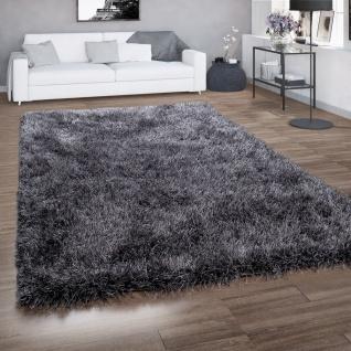 Hochflor-Teppich, Shaggy Für Wohnzimmer, Mit Glitzer-Garn, Grau Anthrazit