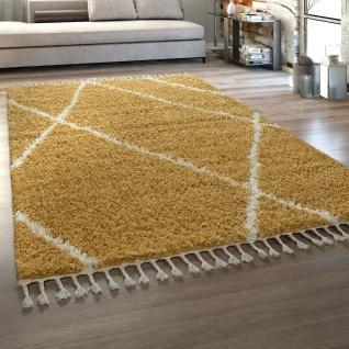 Hochflor Teppich Wohnzimmer Shaggy Skandinavischer Stil Mit Fransen Gelb Creme