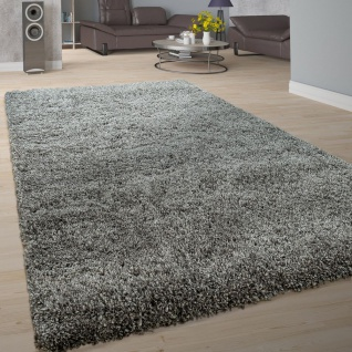 Hochflor-Teppich, Shaggy-Stil, Weicher Flor Einfarbig In Modernem Grau