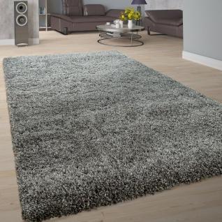 Hochflor-Teppich Im Shaggy-Design, Flauschiges Flor Einfarbig In Modernem Grau